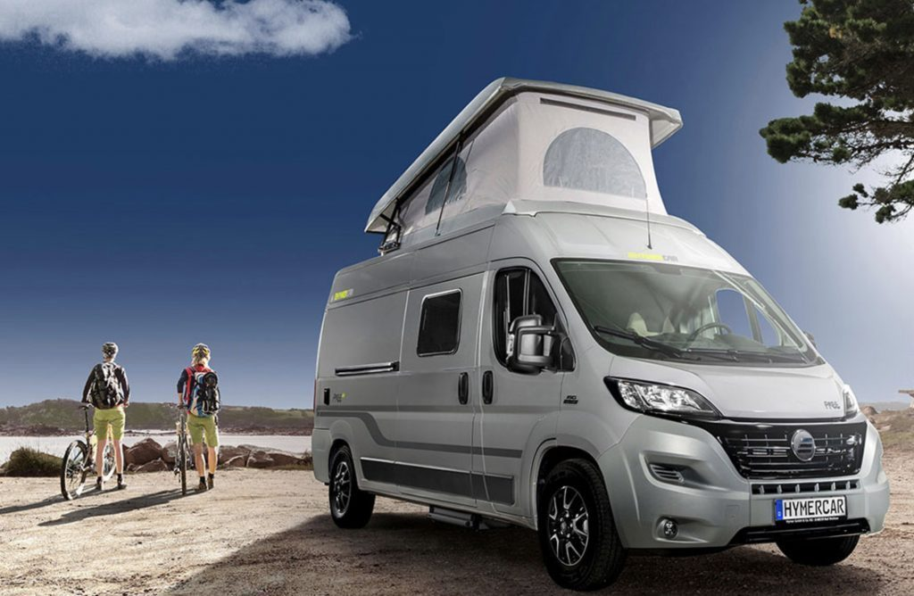 Bets motor homes - HymerCar Free with roof popped up