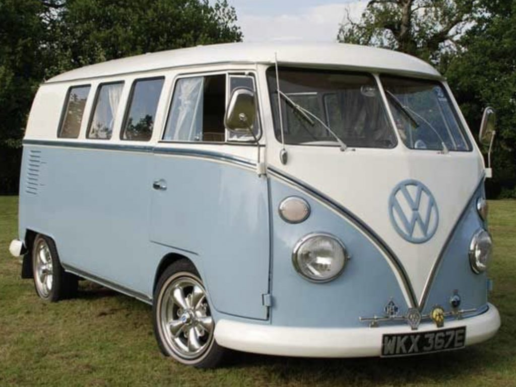 Pale Blue VW Bus