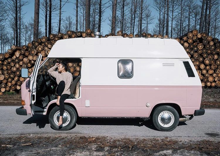 DIY camper van conversions - out side of pink VW