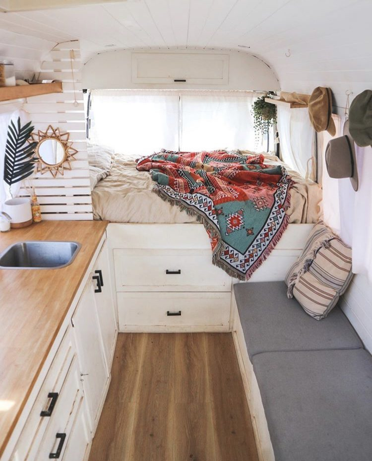 DIY camper van conversions - inside salty the bus