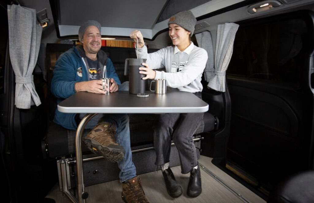 Inside the camper, table up.