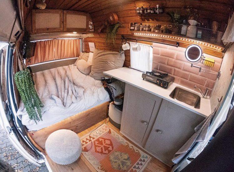 Inside pink VW