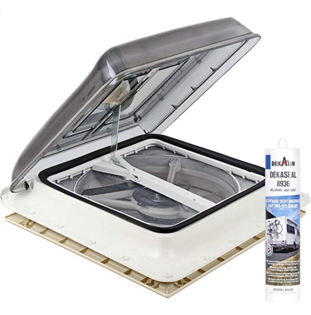 Camper van roof vent - Fiamma Turbo Vent open with fan