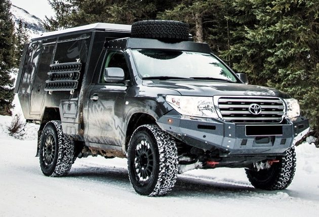 Toyota Truck Camper in the snow