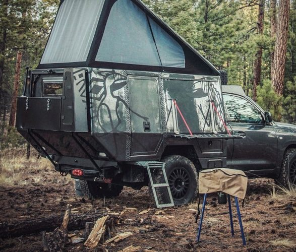 Toyota Truck Camper with pop top raised