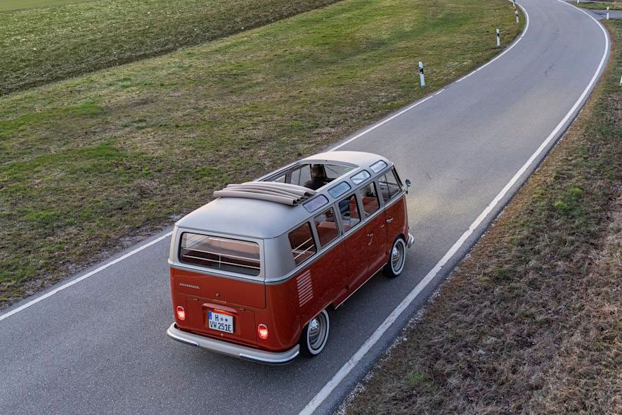 electric microbus on the road