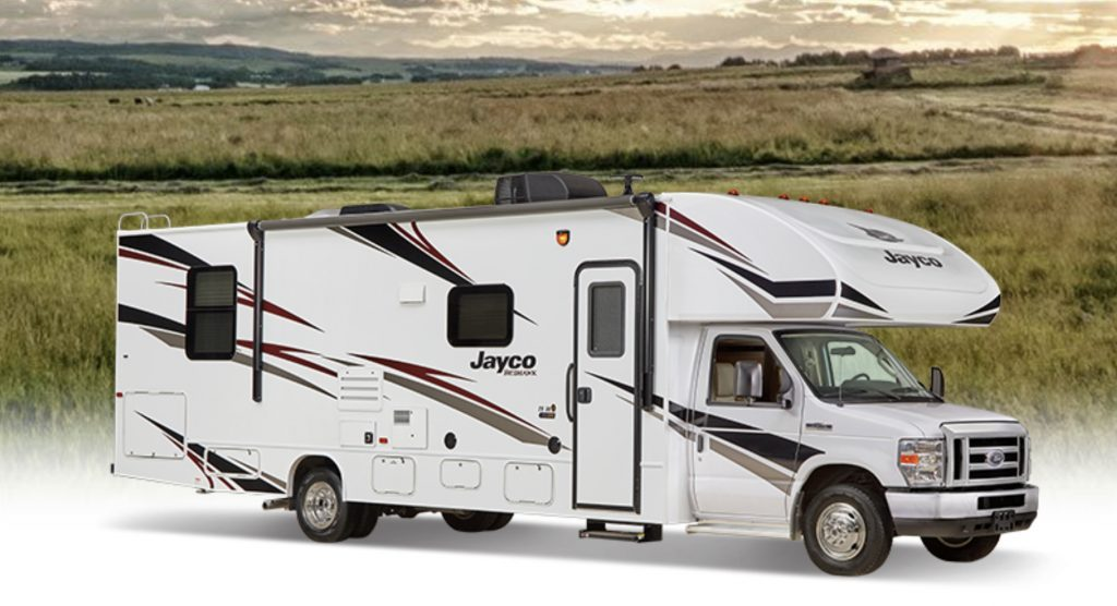 Best RVs- Jayco 2020 Redhawk exterior infront of grass meadows