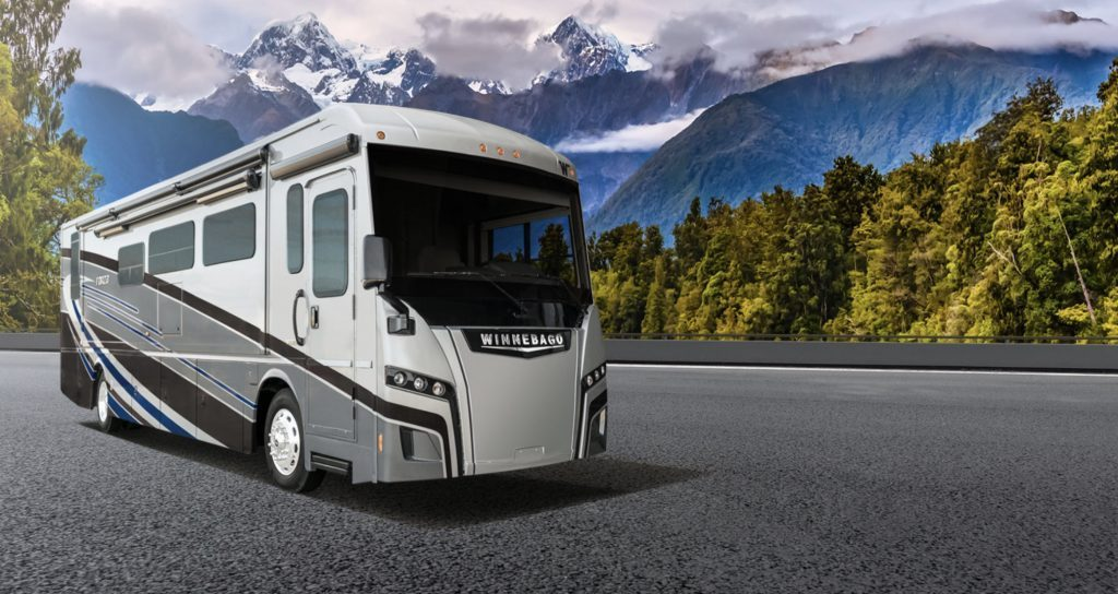 Best RVs- Winnebago Forza exterior infront of mountains