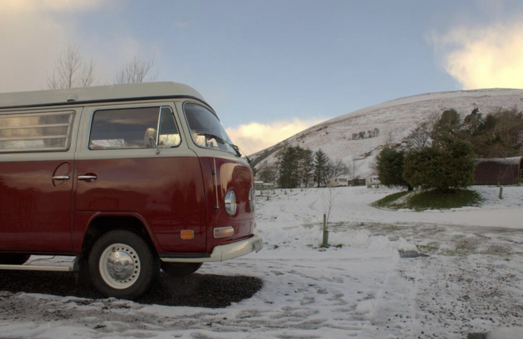Best Campervan Campsites UK - VW in snow at campground