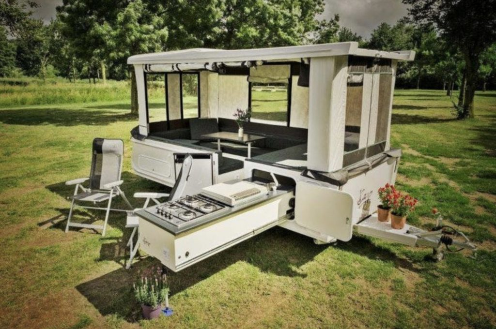 Small pop up campers - iCamp light expanded with kitchen out