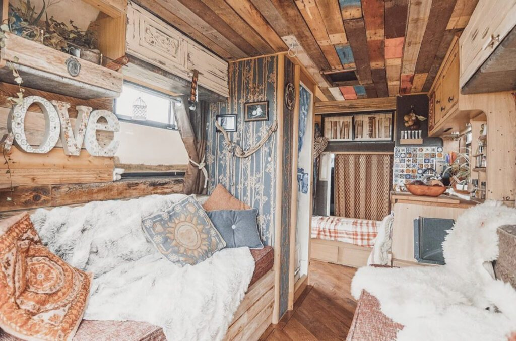 rustic campervan interior