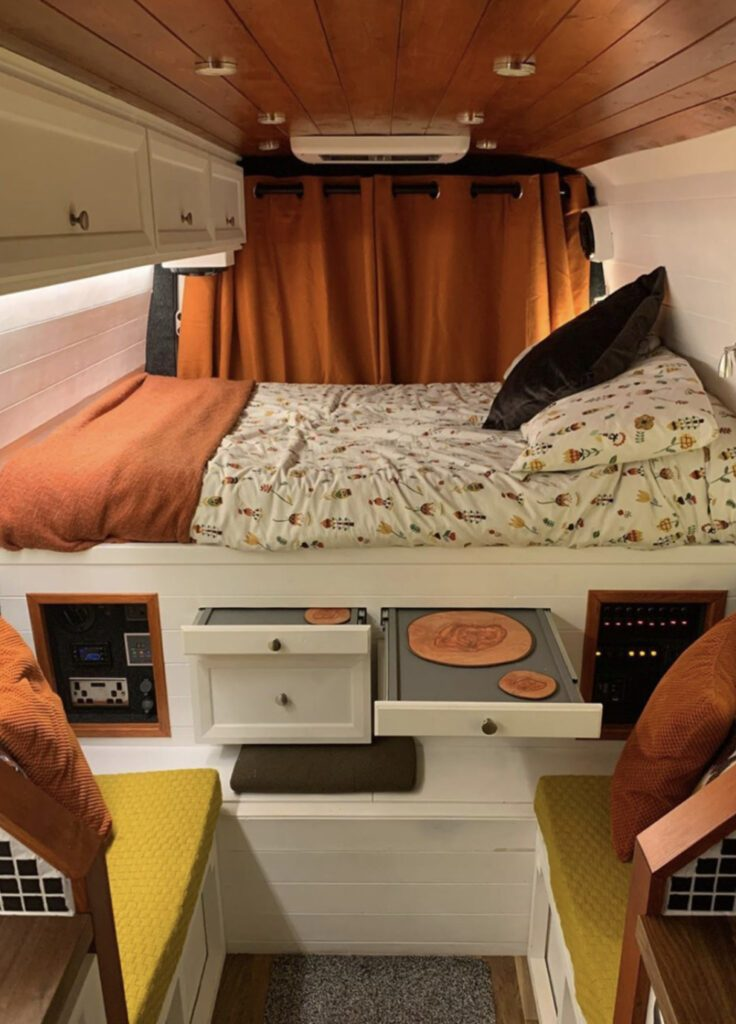 orange and white camper