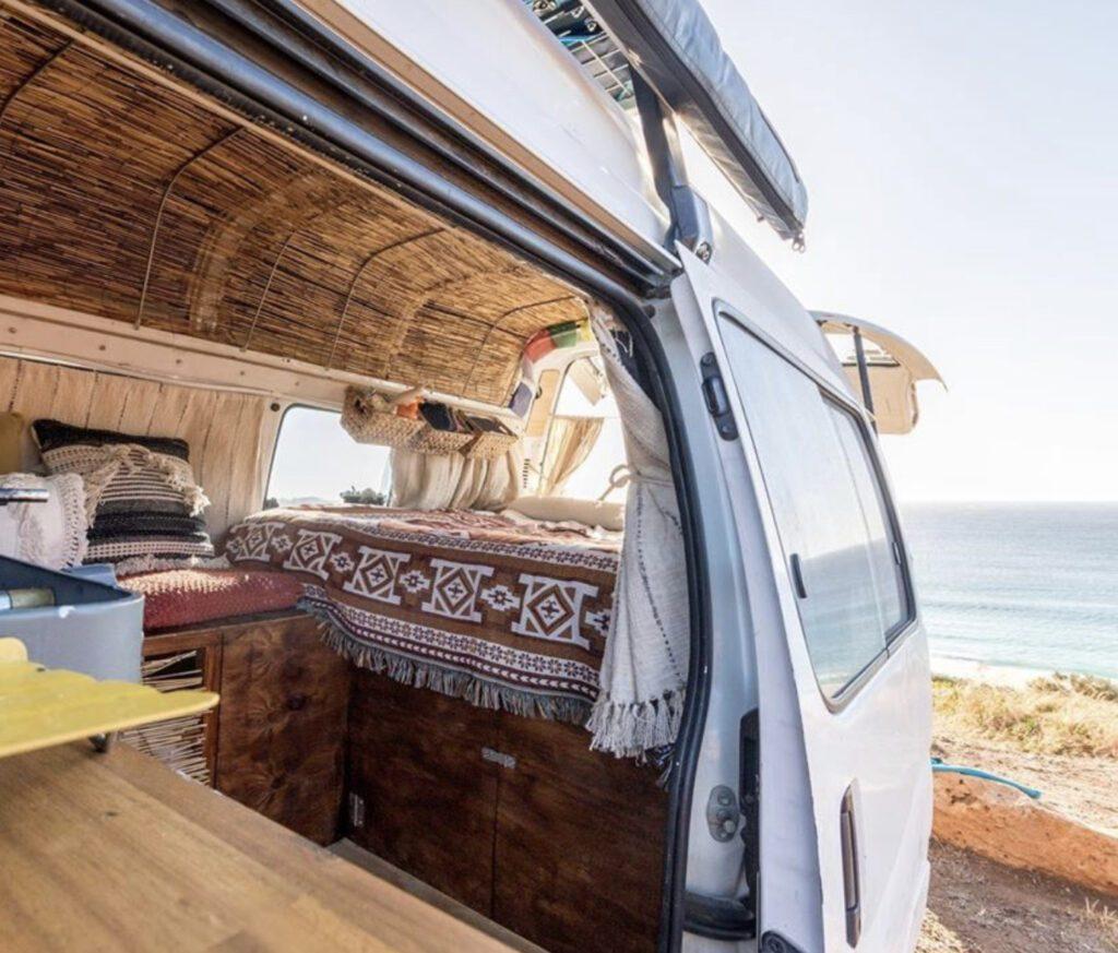 van with bamboo ceiling