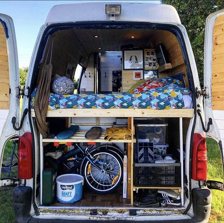 Campervan bed - static bed and garage at back