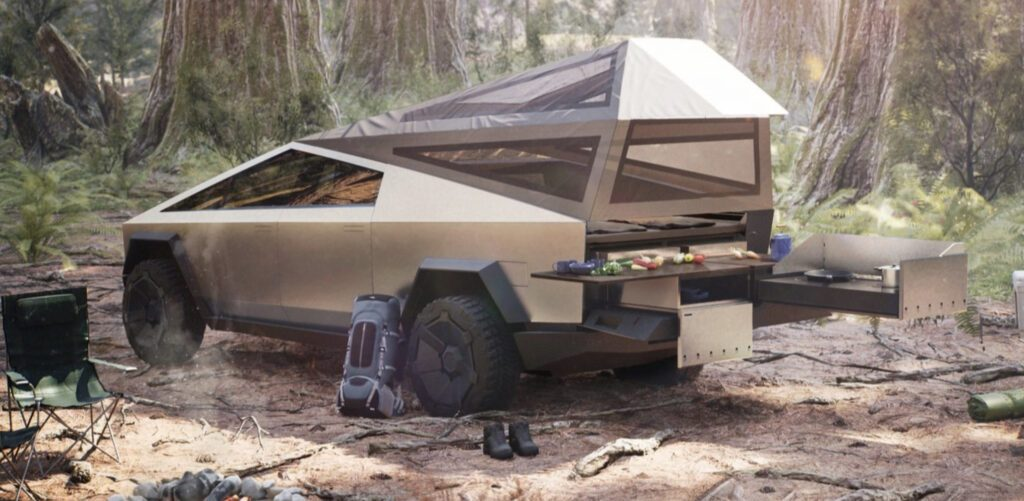 Crazy Campervans - tesla Cybertruck camper set up