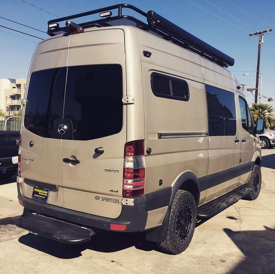 Blacked out windows on a souped up beige sprinter