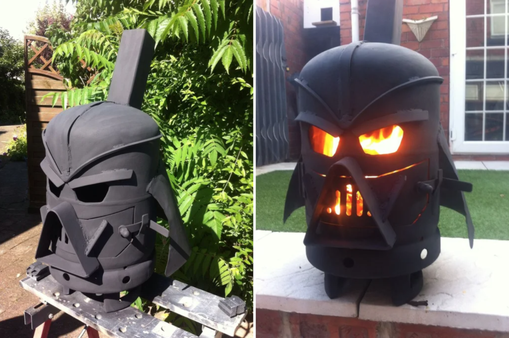 van wood stove - Gas bottle designed in the shape of Darth Vaders head.