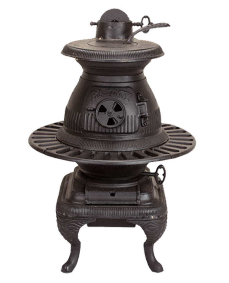 Pot belly iron stove