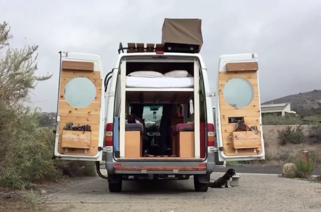 Custom van ideas - retractable bed on rails for best of both static and convertible beds.