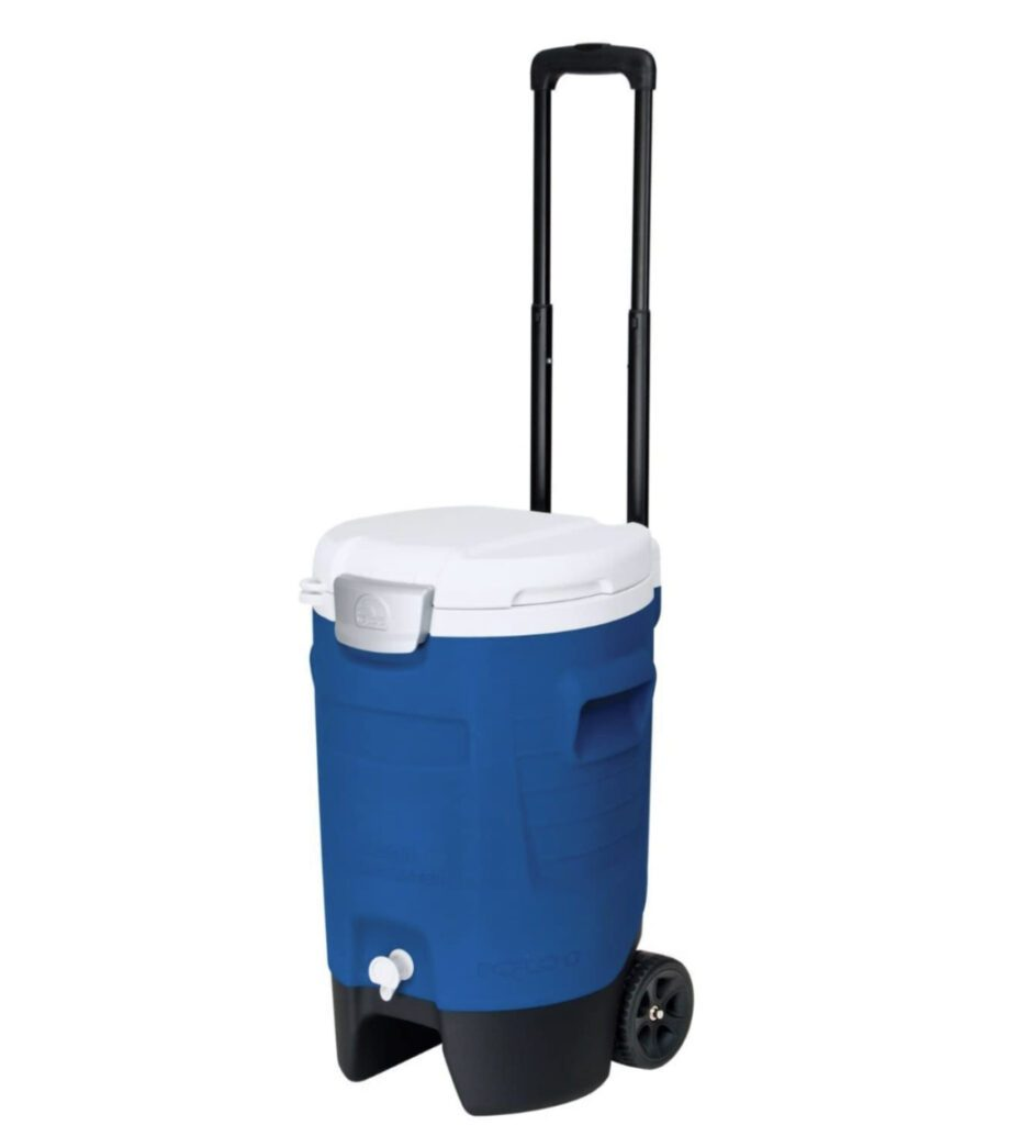 Camping water dispenser - on wheels with handle