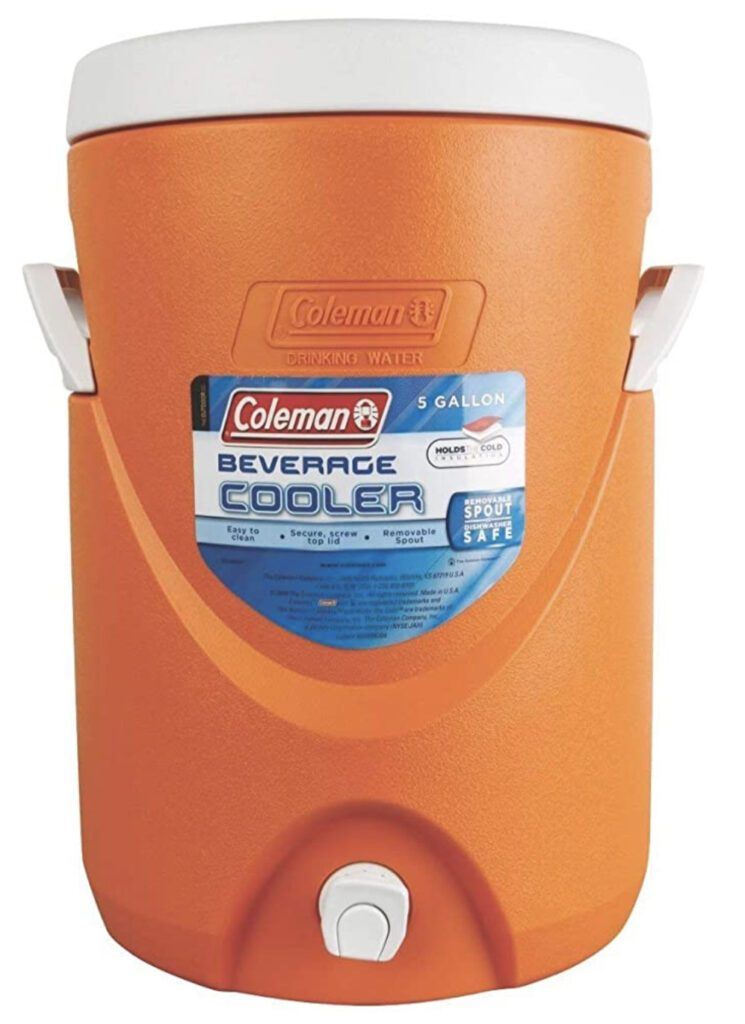 Camping water dispenser - orange cylindrical cooler