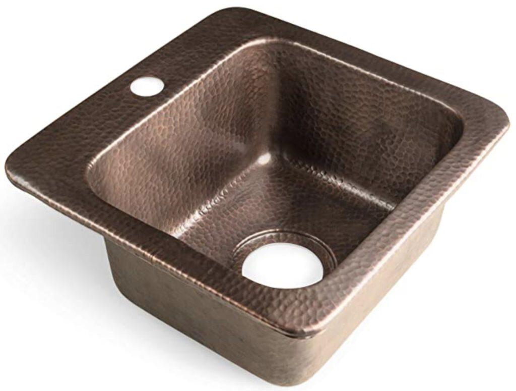 Best camper van sinks - hammered copper square sink