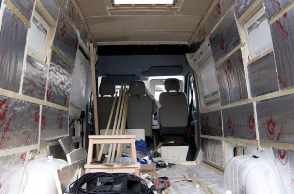 Foam board insulation in camper