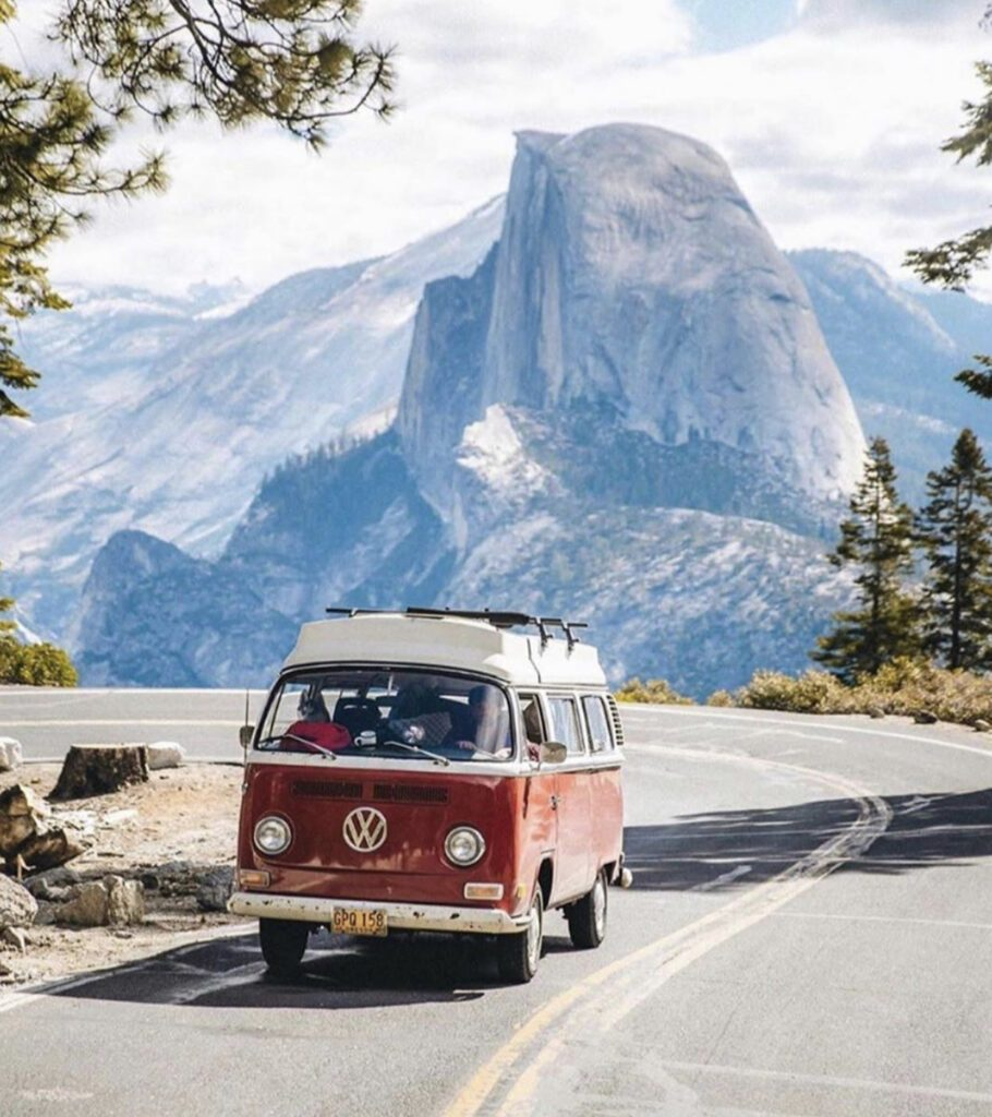 Shipping your van - VW driving in Yosemite in front of half dome