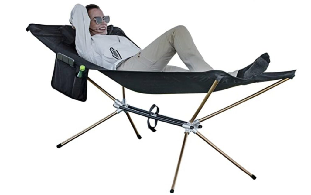 Best hammock with stand - woman resting in black portable hammock