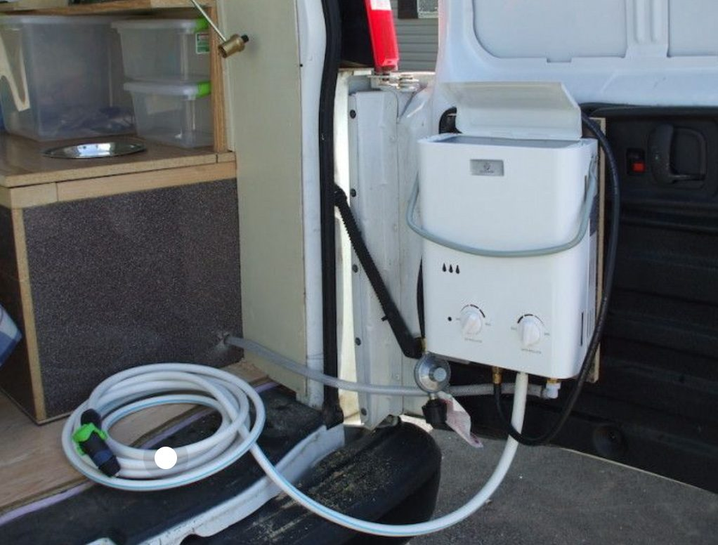 Eccotemp L5 tankless water heater installed in a motorhome