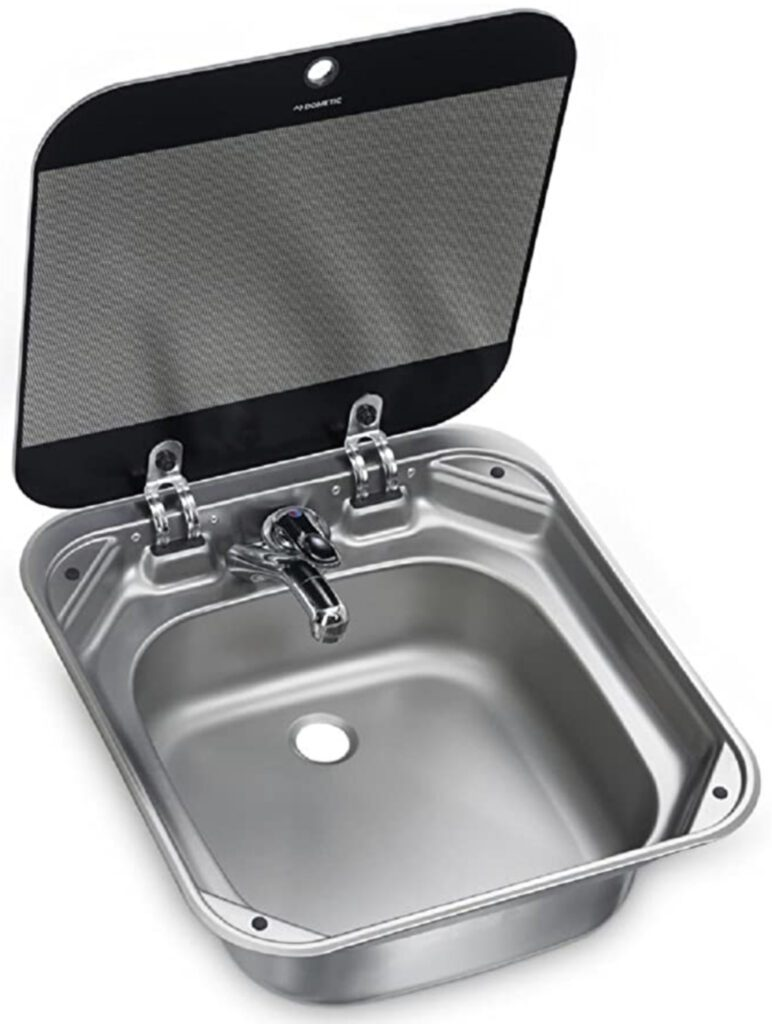 Sink with flip up lid