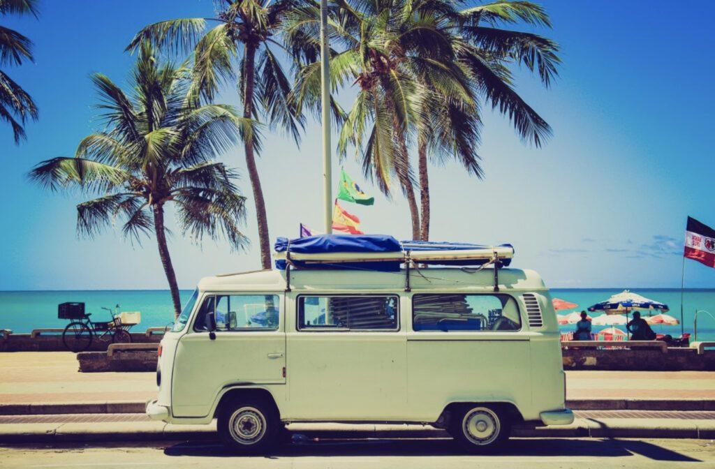 VW camper on sunny beach