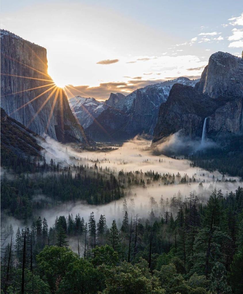 Yosemite camping - misty shot of view