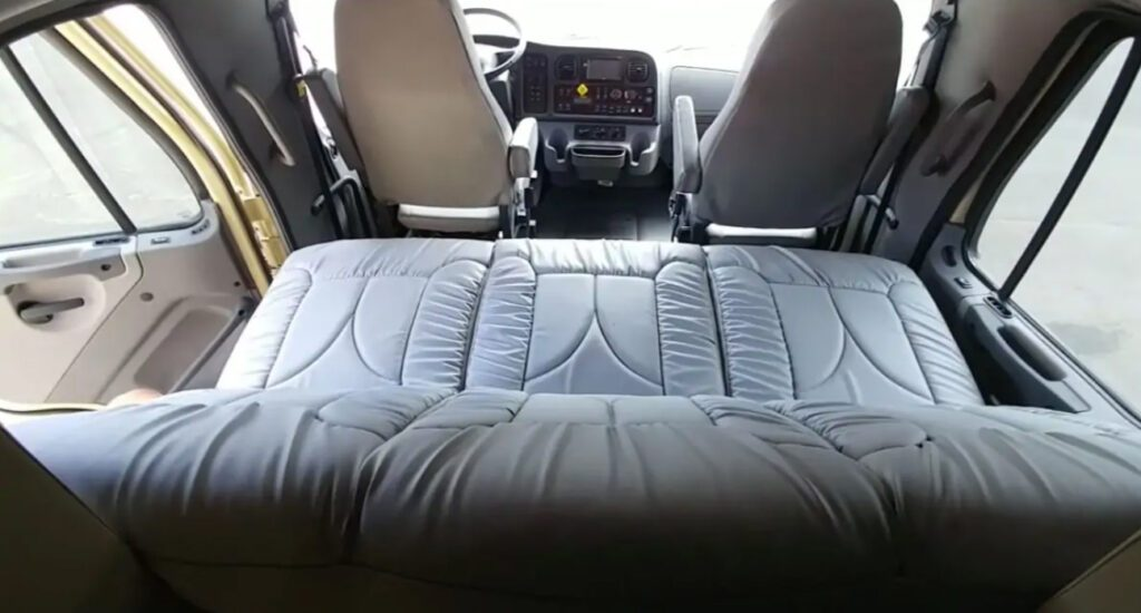 The back seat converts into a flat bed