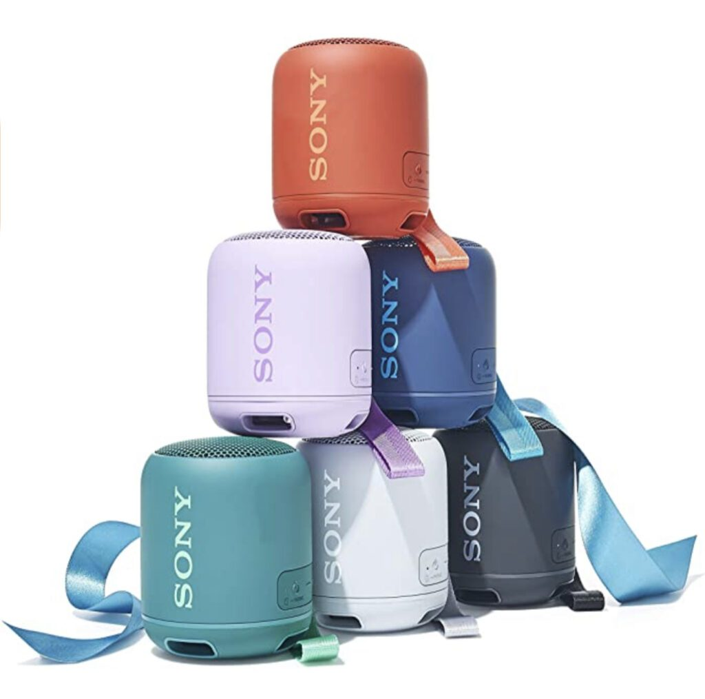 Portable Speaker - stack of different coloured sony speakers