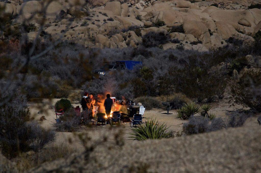 Joshua Tree camping campfire