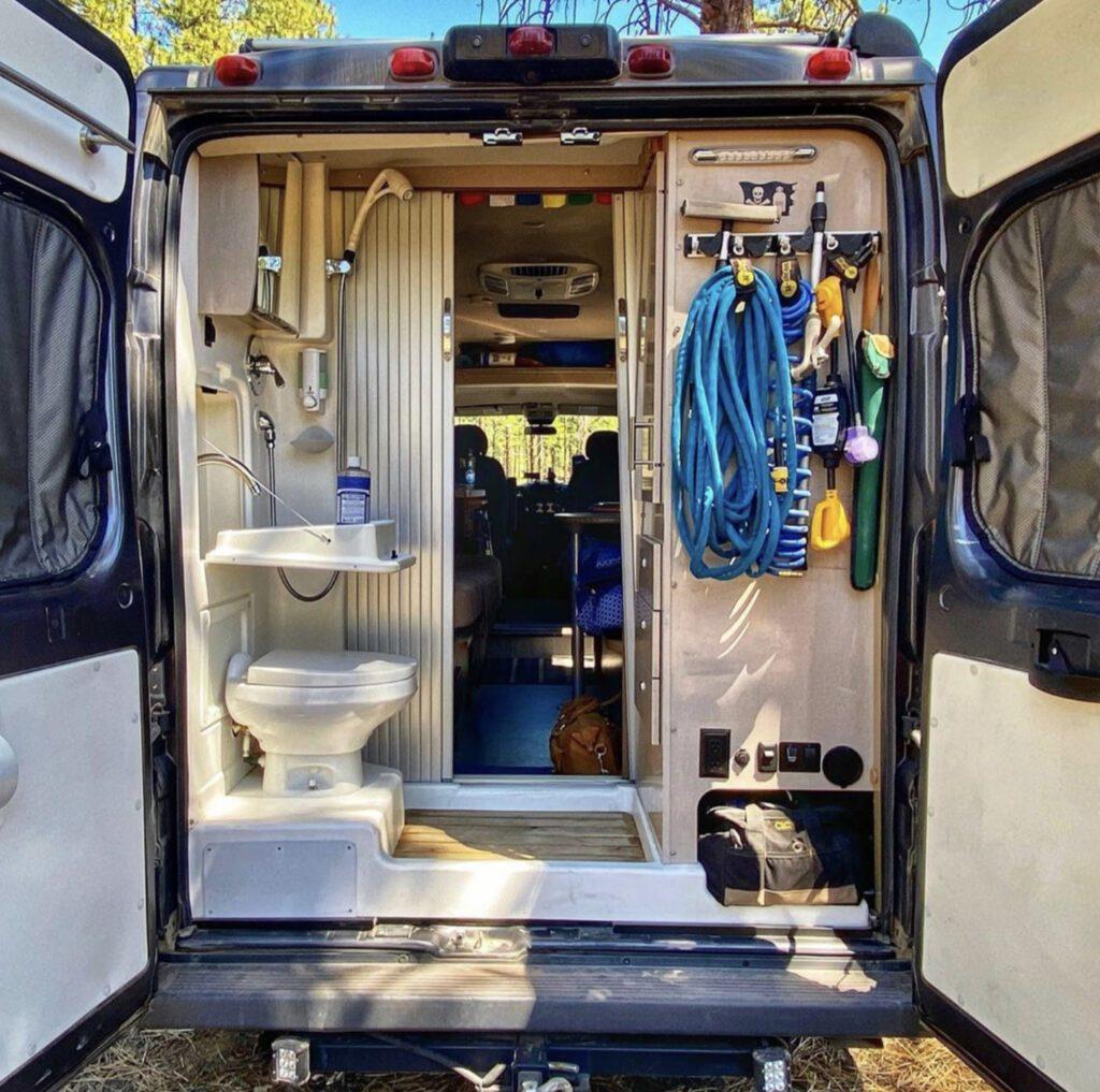 Bathroom at the back of van