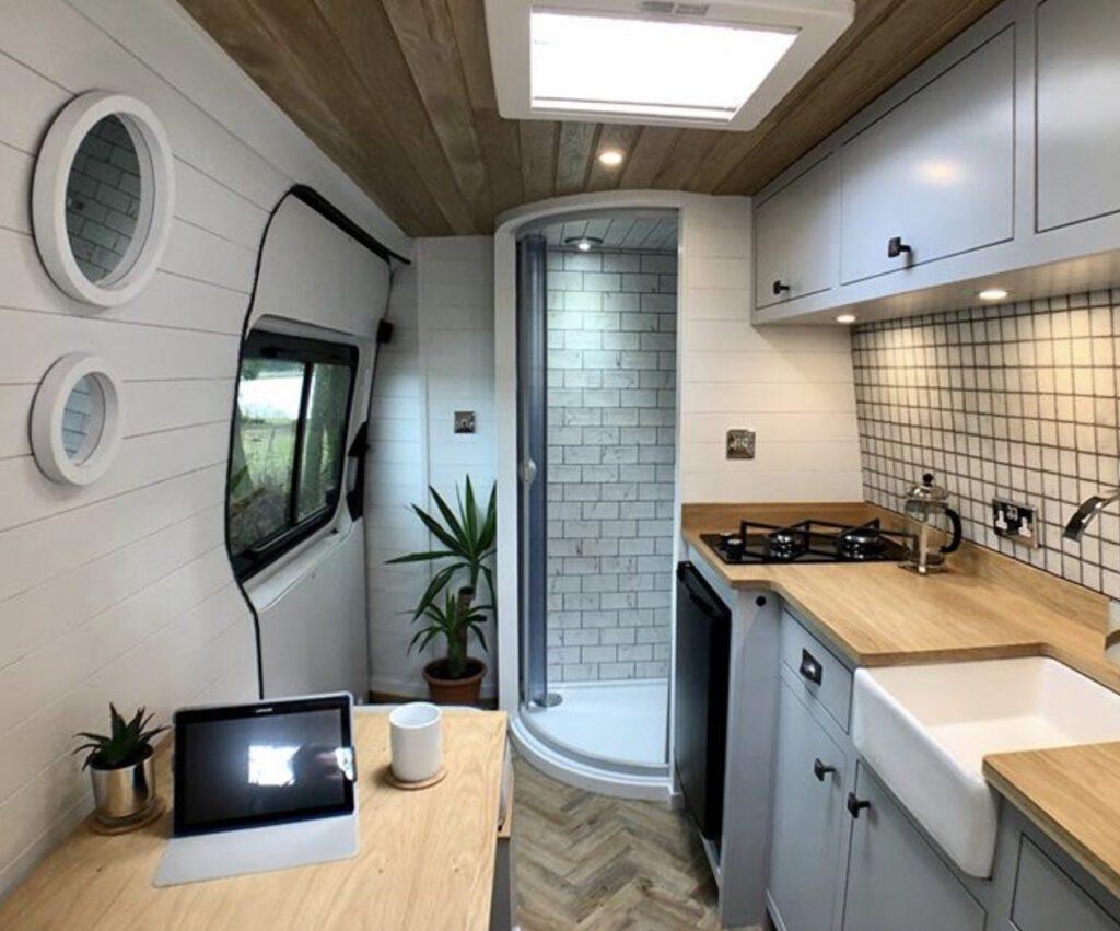 Interior of van with shower