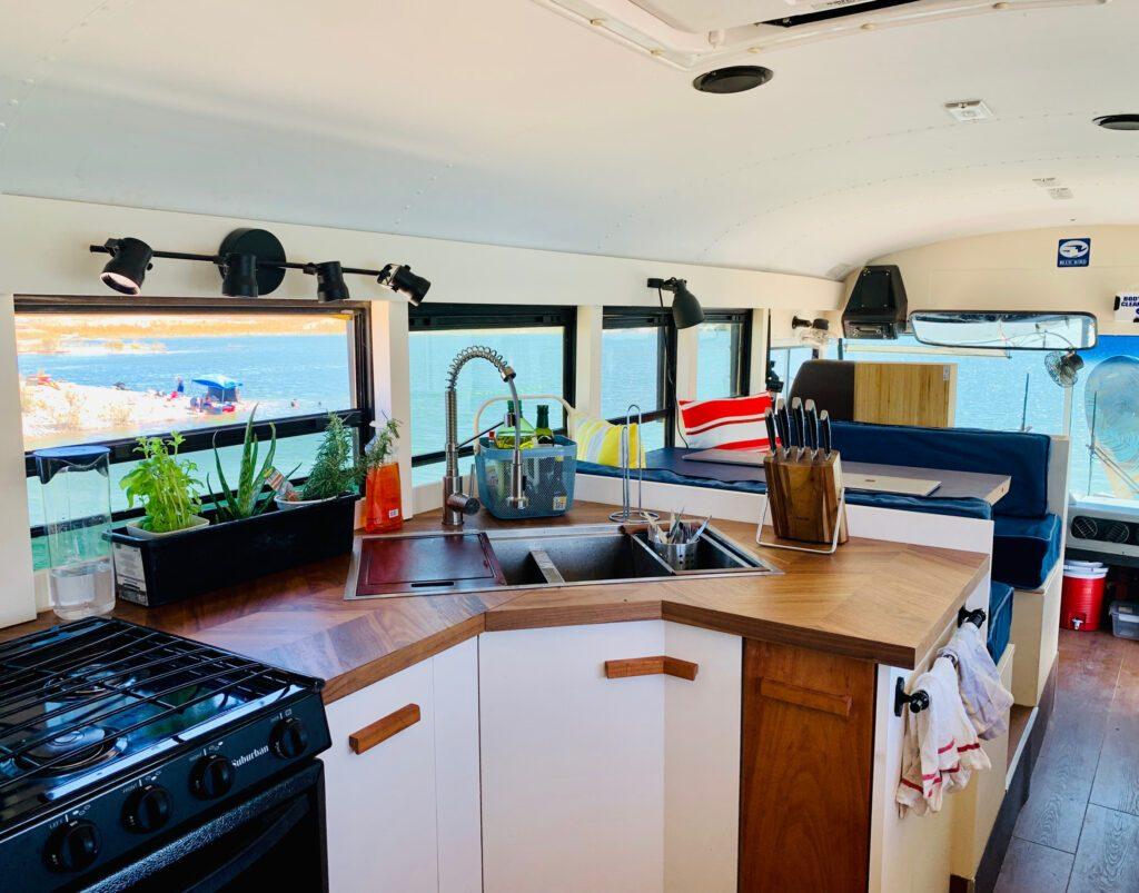 School bus camper - kitchen