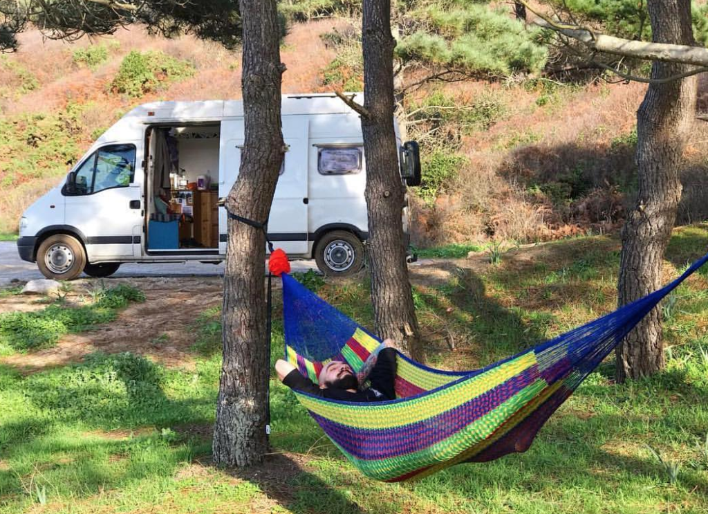 Boondocking in Spain in my van with a hammock