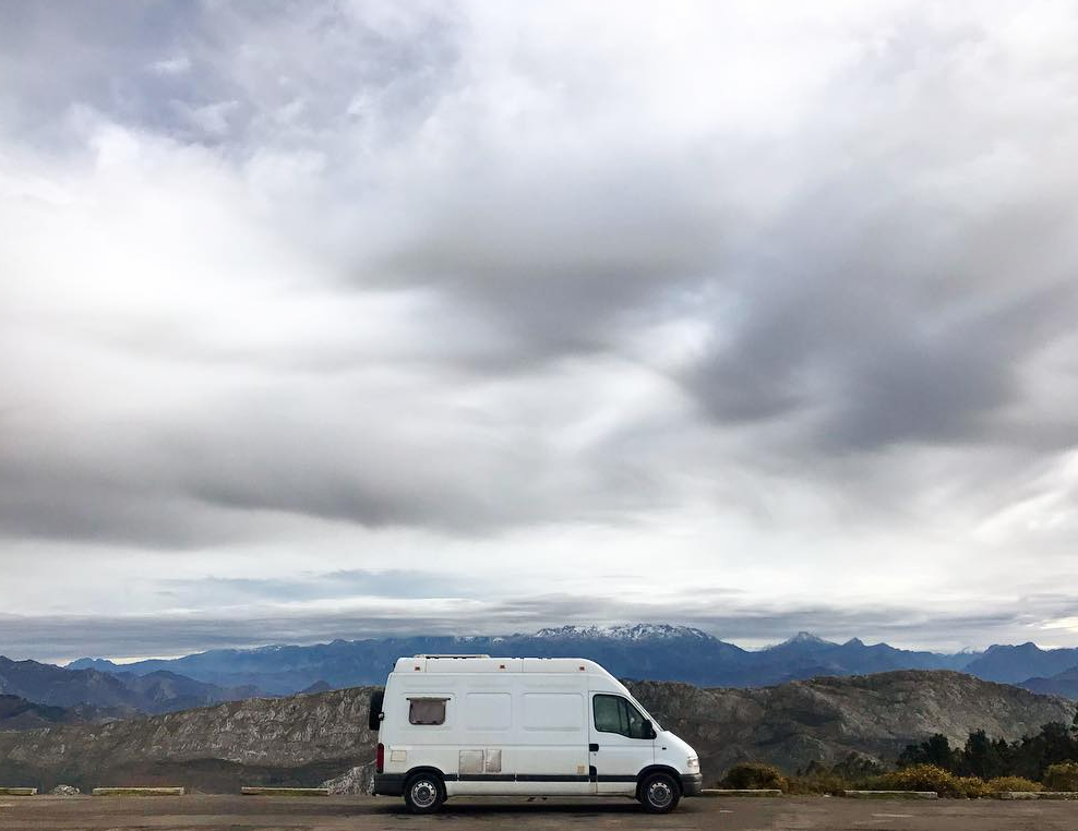 Boondocking in Spain in my van on the top of a mountain