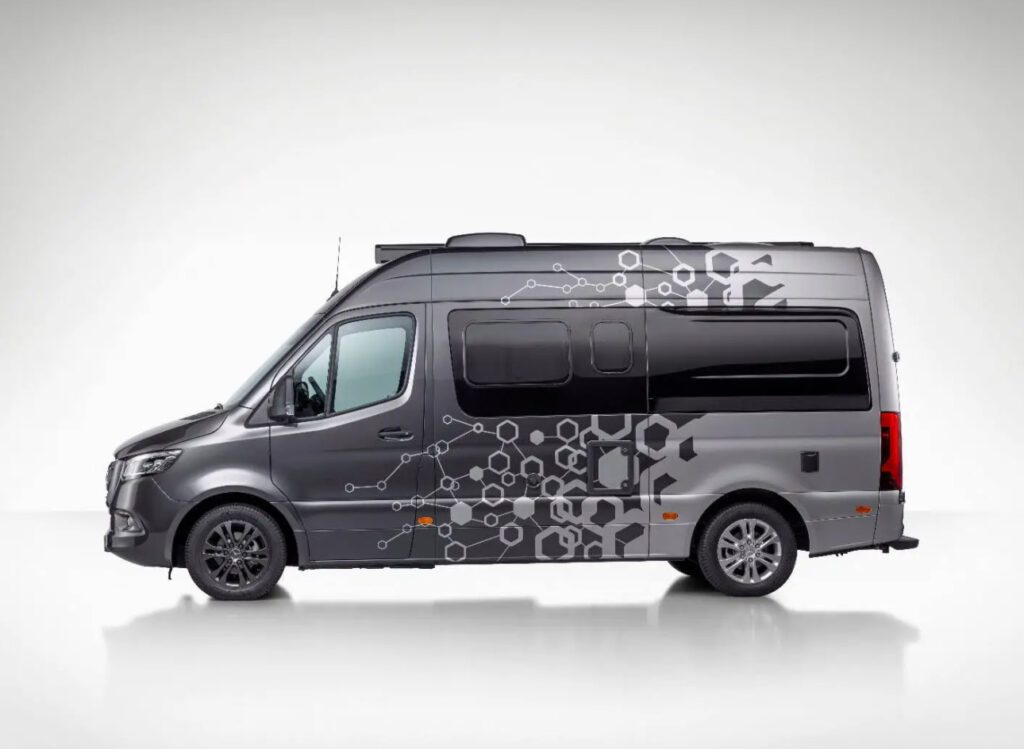 Mercedes Campervan - Sprinter Connected Home with MBAC technology built in. Hexagonal side decals