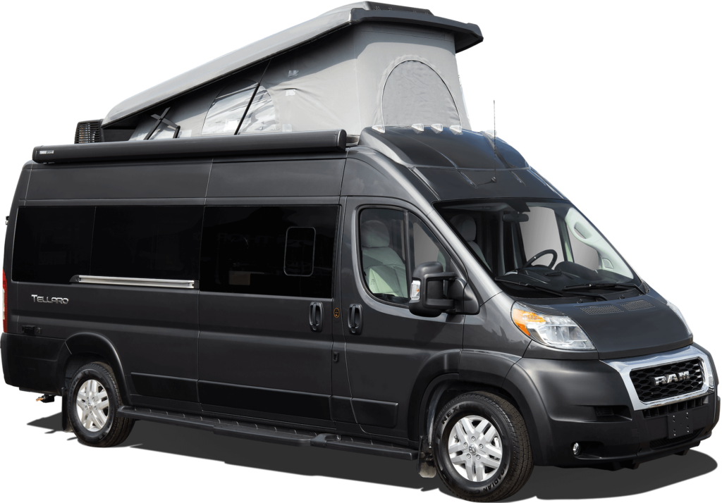 Class B RV: Tellaro Sprinter conversion with pop top roof open