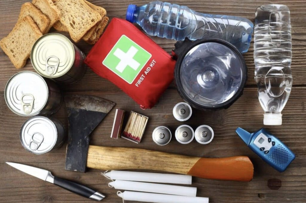 First aid kit sat amongst other survival gear
