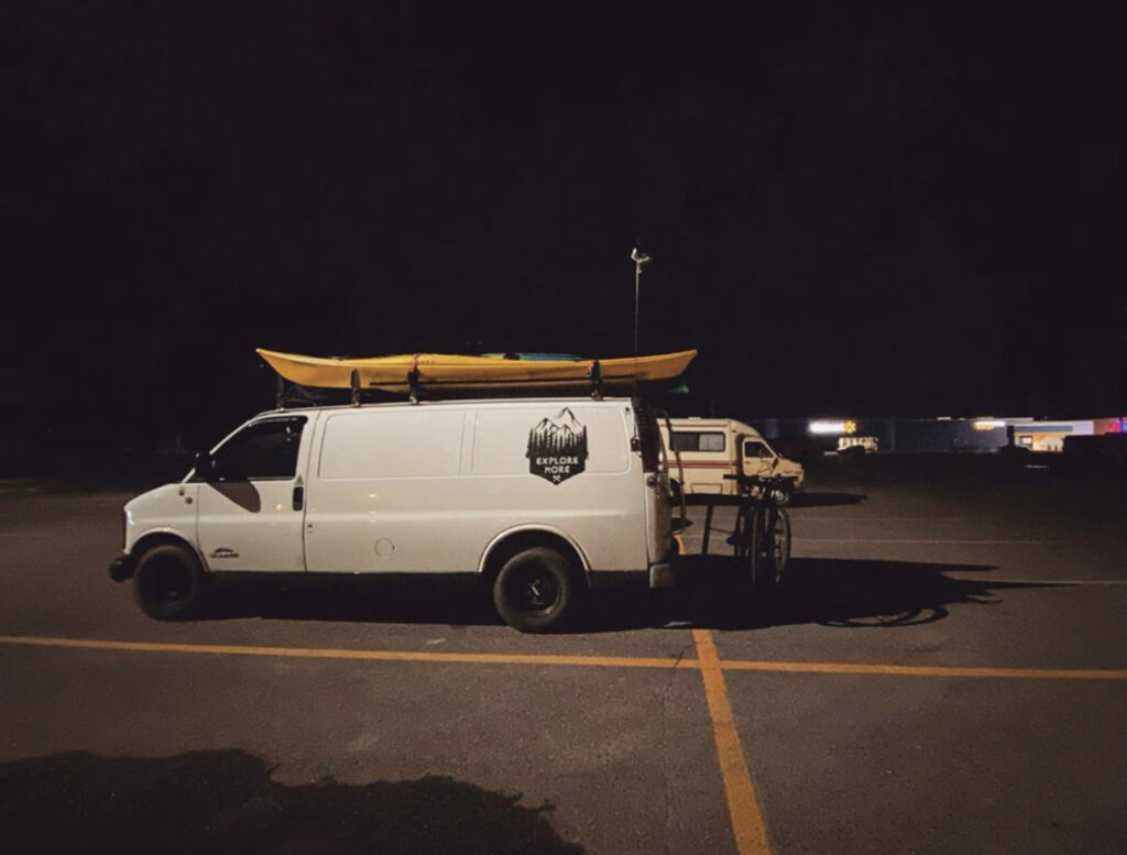 Walmart overnight parking - van parked for the night
