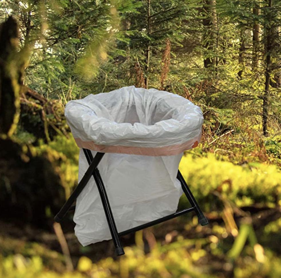 Folding toilet in the trees