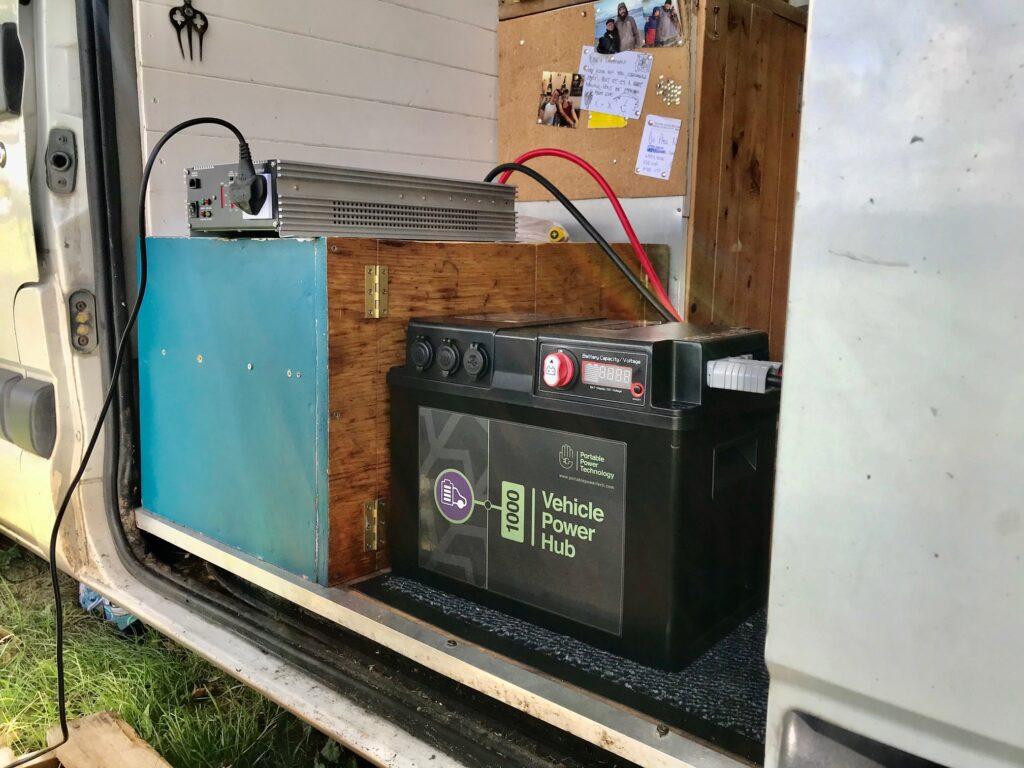 Campervan electrics - the VPH in our van doorway