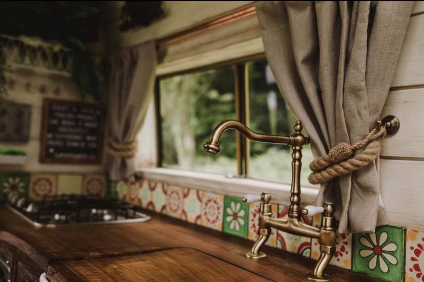 Countertop and ornate tap - Handcrafted Rustic Campervan