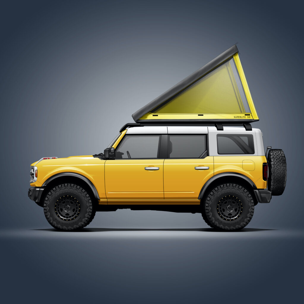 Superlite Lightest Hardshell Rooftop Tent on a jeep