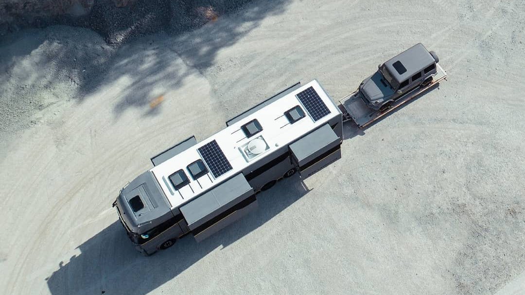 Birds eye view of solor panels and motorhome